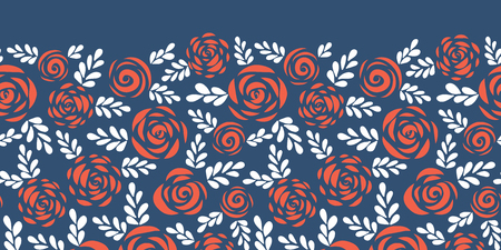Floral vector border red roses with white leaves on blue background seamless. Scandinavian flower silhouettes. Pattern for Valentines, greeting card, wedding, poster, banner, frame, stencil, party