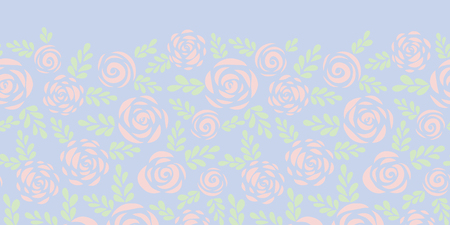 Abstract flat roses and leaves subtle pink and blue seamless vector border. Floral silhouette. Flower pattern for Valentines, fabric, card, poster, web banner, frame, stencil, wedding invitation