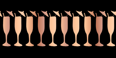 Copper foil champagne flute seamless vector pattern border. Rose gold cocktail glasses on black background. For restaurant, menu, party celebration, wedding, birthday, invitation, Christmas, New Year