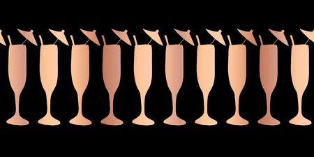 Copper foil champagne flute seamless vector pattern border. Rose gold cocktail glasses on black background. For restaurant, menu, party celebration, wedding, birthday, invitation, Christmas, New Year Stock fotó