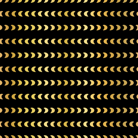 Gold foil half moon shapes seamless vector pattern. Golden crescents horizontal lines on black background. For digital paper, web banner, party invitation, birthday celebration, Christmas, New Year