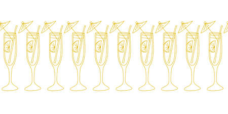 Cocktail glasses gold on white seamless vector border. Drinking glasses, champagne, cocktail flutes. Use for celebrations, restaurant and bar menu, bar decorations, invitation, wedding, party, summer.
