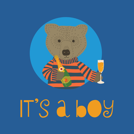 It is a boy vector Illustration with bear holding champagne bottle and flute. Invitation for baby party celebration. Meet the newborn. Animal illustration. Fun Design for invitation card. Blue.