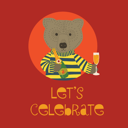Let us celebrate baby shower vector Illustration with bear holding champagne bottle and flute. Invitation for baby party celebration. Meet the newborn. Animal illustration. Card design red. Banque d'images - 114164477