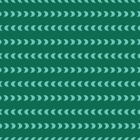 Horizontal lines of moon crescents. Lined up teal shapes on a emerald green background. Seamless vector pattern. Abstract geometric background