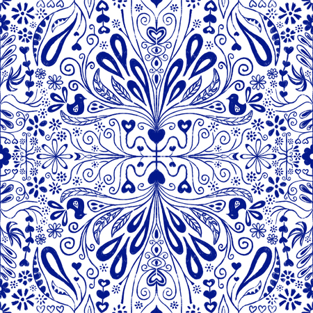 Chinoiserie seamless pattern background. Blue and white repeating tile with folk art flowers, leaves, hearts and birds. Use for fabric, digital paper, gift wrap, packaging, home decor, stationery.