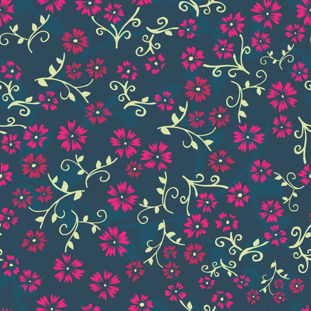 Seamless vector repeating floral pattern. Orange and yellow vintage style flowers on teal blue background. Use for fabric, wallpaper, digital paper, packaging, gift wrap. Liberty style. Ditsy print.