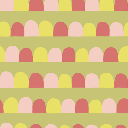 Abstract seamless vector background. Horizontal lined up arcs, half circles. Pink, lime yellow, green. Modern geometric pattern with semicircles in retro flat scandinavian style. Use for fabric, paper Reklamní fotografie