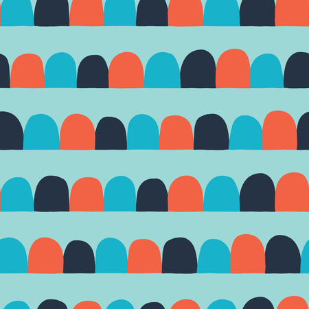 Abstract seamless vector background. Horizontal lined up arcs, half circles. Blue, orange, teal. Modern geometric pattern with semicircles in retro flat scandinavian style. Use for paper, kids fabrics