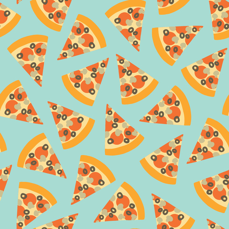 Pizza slice seamless vector pattern. Background with hand draw pizza. Doodle pizza with olives, mushroom, cheese, salami, tomatoes. Fast food seamless vector pattern. Use for menu, flyer, decor, party Stock Photo