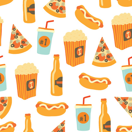 Fast food seamless vector pattern. Snack food and drinks Background with hand draw pizza, hot dog, popcorn, beer, cup. Doodle snack items. Use for menu, flyer, decor, summer, football or soccer party.