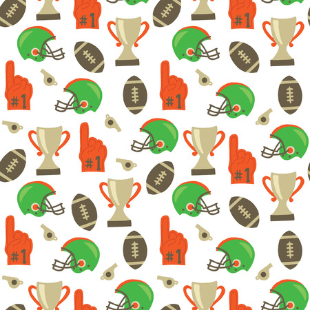 American Football vector pattern. Helmet, trophy, foam finger, football repeating background. Super Bowl vintage style background. For tailgate party, invitation, flyer, fabric, kids decor