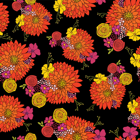 Seamless flower pattern background vector. Floral arrangements with Aster, Daisy, Petunia, and chamomile flowers. Hand drawn design for summer, spring, fabric, paper, wallpaper, home decor