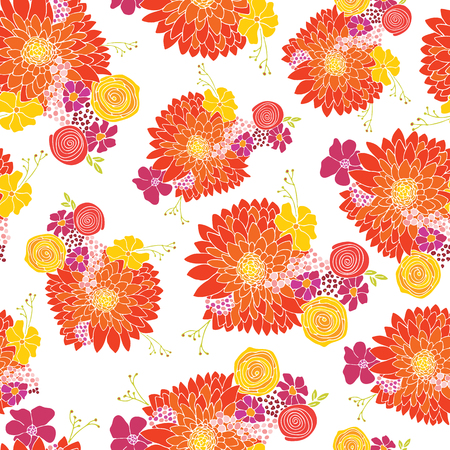 Seamless floral pattern background vector. Flower arrangements with Aster, Daisy, Petunia, and chamomile flowers. Hand drawn design for summer, spring, fabric, paper, wallpaper, home decor
