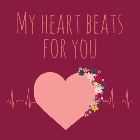 My heart beats for you Valentines day vector illustration. Pink heart with flowers on electrocardiogram. Love concept with heartbeat graph and I love you quote. For Valentines card design, wedding. Фото со стока