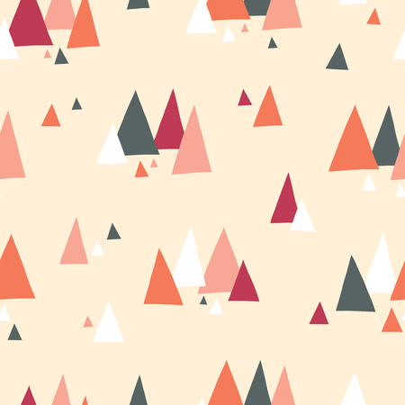 Triangle mountains seamless vector pattern in scandinavian style. Decorative background with landscape elements. Abstract texture gray, coral, red, beige, white. Use for fabric, digital paper, decor.