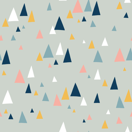 Triangle mountains seamless vector pattern in scandinavian style. Decorative background with landscape elements. Abstract texture gray, pink, teal, blue, white. Use for fabric, digital paper, decor. Illustration