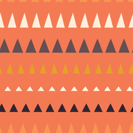 Triangles in a row seamless vector pattern. Abstract background hand drawn lined up triangles. Geometric design in coral, blue, white, gold. For fabric, kids, coordinate, digital paper, page fill. Stock Photo