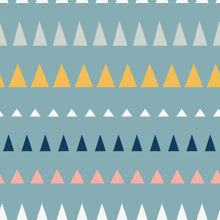 Triangles in a row seamless vector pattern. Abstract background hand drawn lined up triangles. Geometric design in teal, blue, pink, white, gold. For fabric, kids, coordinate, digital paper, page fill Stock Photo