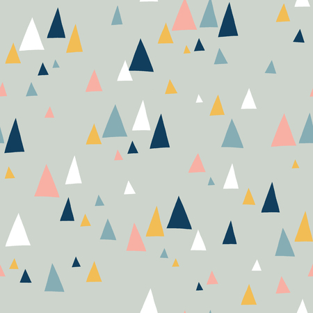 Triangle mountains seamless vector pattern in scandinavian style. Decorative background with landscape elements. Abstract texture gray, pink, teal, blue, white. Use for fabric, digital paper, decor. Stock Photo