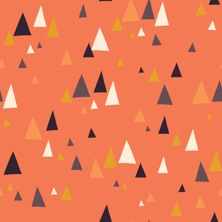 Seamless vector pattern with triangle mountains in scandinavian style. Decorative background with landscape elements. Abstract texture in coral, blue, gray, gold, white. Use for fabric, digital paper