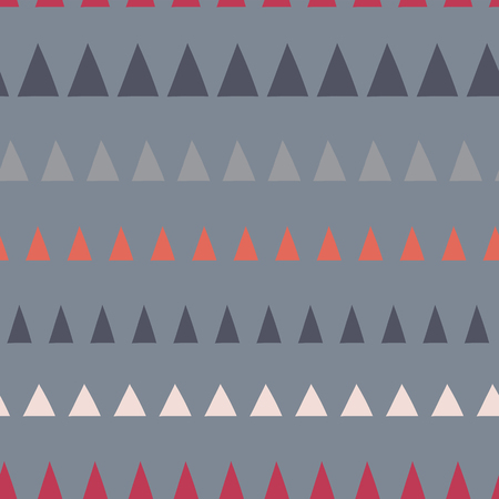 Triangles in a row seamless vector pattern. Abstract background hand drawn lined up triangles. Geometric design in gray, blue, white, red. For fabric, kids, coordinate, digital paper, page fill. Stock Photo