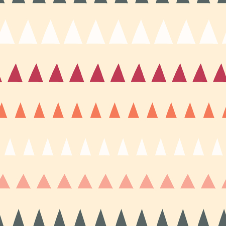 Triangles in a row seamless vector pattern. Abstract background hand drawn lined up triangles. Geometric design beige, gray, white, coral, pink. For fabric, kids, coordinate, digital paper, page fill.