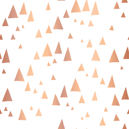 Scattered rose gold foil triangles on white seamless vector pattern. Copper foil background. Abstract mountain landscape in elegant shiny metallic foil. For cover, cards, poster, page fill, decor.