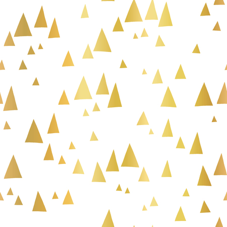 Scattered gold foil triangles on white seamless vector pattern. Abstract geometric background. Abstract mountain landscape in elegant shiny metallic foil. For cover, cards, poster, page fill, decor. Stock Photo