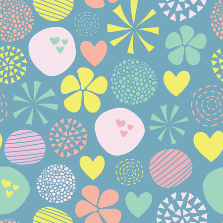 Cute doodle vector pattern with flowers, dots, hearts in pink, yellow, green, blue. Abstract seamless background. Hand drawn simple feminine design for girl, fabric, digital paper, baby, woman, decor Stock Photo