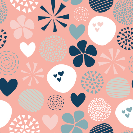 Abstract seamless vector pattern with flowers, dots, hearts in pink, white, coral, blue. Cute modern hand drawn simple feminine design for girls, fabric, digital paper, baby, woman, decor.