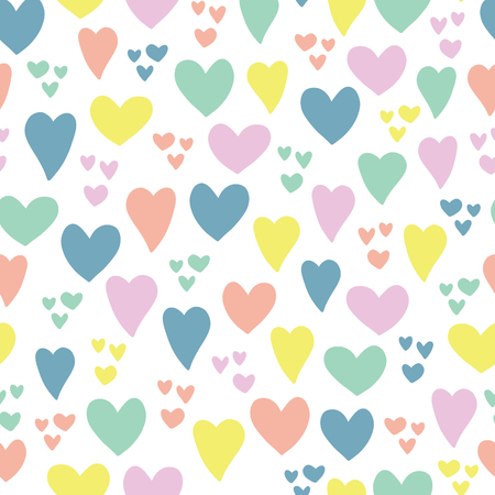 Hearts seamless vector pattern background. Hand drawn hearts isolated pink, coral, blue, green, yellow. Use for Valentines day, kids, card, invitation, scrapbook