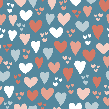Hearts seamless vector pattern background. Hand drawn hearts isolated pink, coral, blue. Use for card, invitation, album, scrapbook, wrapping paper, kids fabric, Valentines day