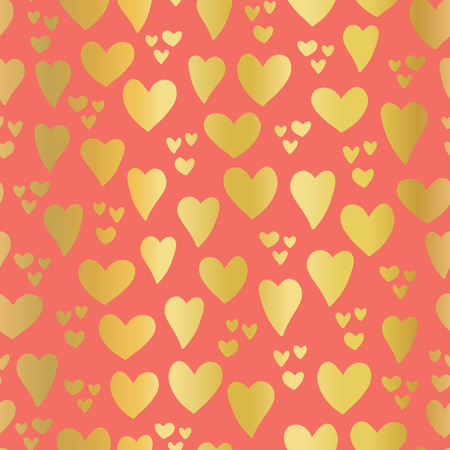 Gold foil Hearts on coral background seamless vector pattern. Hand drawn hearts isolated. Shiny metallic hearts. Elegant, luxury design for Valentines day, kids, card, invitation, scrapbook, wedding