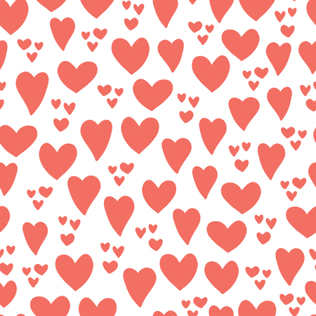 Hearts seamless vector pattern background. Hand drawn hearts isolated coral red, white. Use for card, invitation, album, scrapbook, wrapping paper, kids fabric, Valentines day
