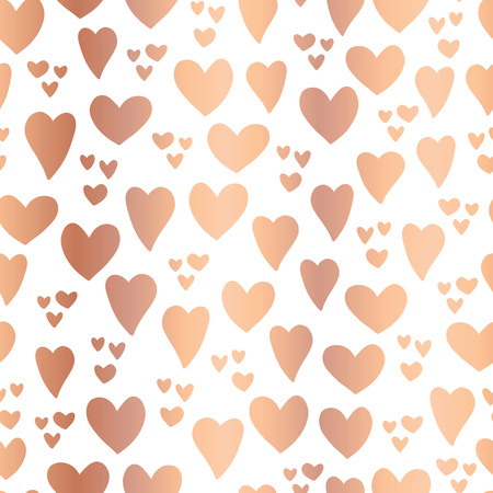 Copper foil Hearts on white background seamless vector pattern. Hand drawn rose golden hearts isolated. Shiny metallic hearts. Elegant, luxury design for Valentines day, card, invitation, wedding