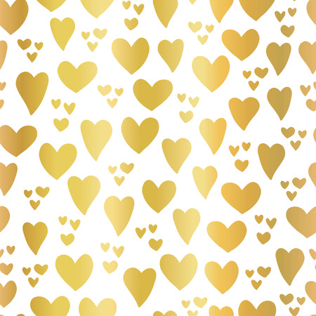 Gold foil Hearts on white background seamless vector pattern. Hand drawn hearts isolated. Shiny metallic hearts. Elegant, luxury design for Valentines day, kids, card, invitation, scrapbook, wedding