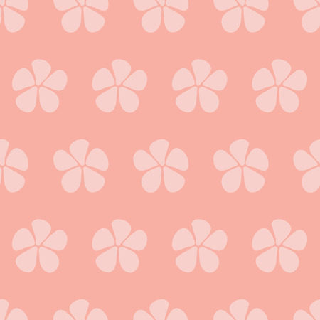 Pink Simple stylized flowers vector seamless pattern. Floral background pink hues. Abstract design with hand drawn sketchy flowers. Simple floral minimalistic art for fabric, web banner, page fill