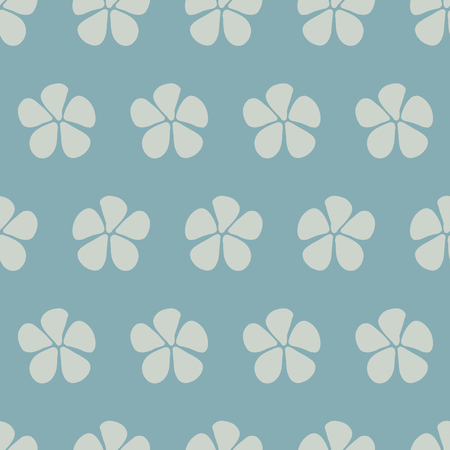 Simple stylized flowers vector seamless pattern. Floral background blue hues. Abstract design with hand drawn sketchy flowers. Simple floral minimalistic background for fabric, web banner, page fill. Stock Photo
