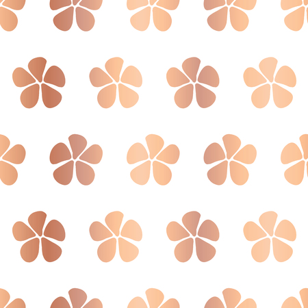 Simple stylized copper foil flowers vector seamless pattern. Floral background metallic gold foil. Abstract design with hand drawn flowers. Simple floral minimalistic art for page fill, celebration