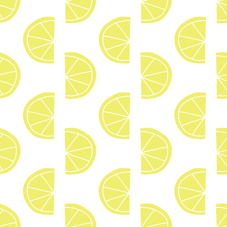 Stylized lemon slices seamless vector pattern. Contemporary fruit design in retro style. Yellow lemons on white background. Hand drawn food backdrop for summer, spring, garden party, farmers market. Stock Photo