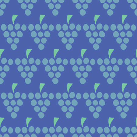 Vector seamless pattern with illustrated grapes isolated on blue. Juice berries food background. Fruit illustration. Use for card, menu cover, web pages, page fill, packaging, farmers market, fabric.