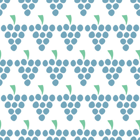 Grapes Vector seamless pattern isolated. Blue juice berries on white. Food background. Fruit illustration. Use for card, menu cover, web pages, page fill, packaging, farmers market, fabric. Stock Photo