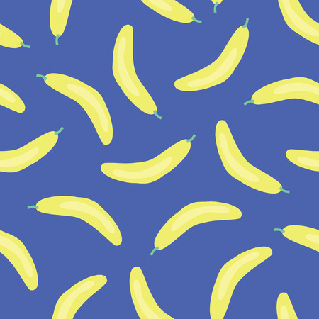 Bananas background. Vector seamless pattern with illustrated fruits isolated on blue. Food illustration. Use for card, menu cover, web pages, page fill, packaging, farmers market, fabric. Stock Photo