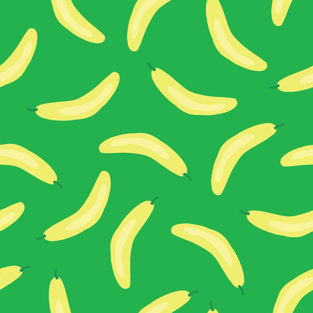 Bananas pattern. Vector seamless background with illustrated fruits isolated on green. Food illustration. Use for card, menu cover, web pages, page fill, packaging, farmers market, fabric.