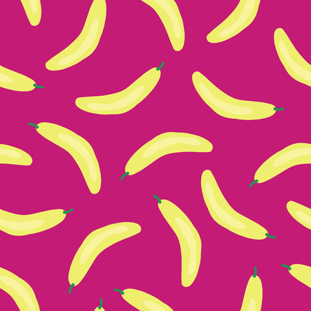 Bananas pattern. Vector seamless background with illustrated fruits isolated on pink. Food illustration. Use for card, menu cover, web pages, page fill, packaging, farmers market, fabric.