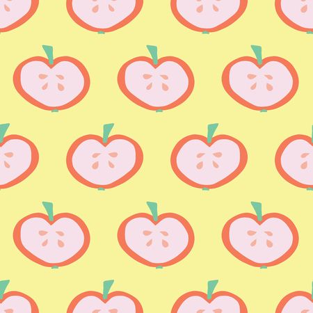Apple slice pattern. Vector seamless background with illustrated fruits isolated on yellow. Food illustration. Use for card, menu cover, web pages, page fill, packaging, farmers market, summer fabric.