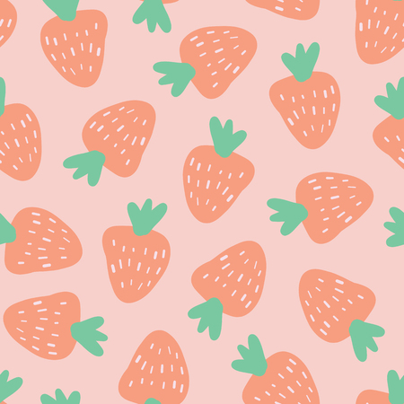 Strawberry pattern. Vector seamless background with illustrated fruits isolated on pink. Food illustration. Use for card, menu cover, web pages, page fill, packaging, farmers market, summer fabric.