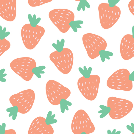 Strawberry background. Vector seamless pattern with illustrated fruits isolated on white. Food illustration. Use for card, menu cover, web pages, page fill, packaging, farmers market, summer fabric.