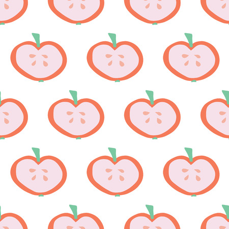 Apple slice background. Vector seamless pattern with illustrated fruits isolated on white. Food illustration. Use for card, menu cover, web pages, page fill, packaging, farmers market, summer fabric. Stock Photo